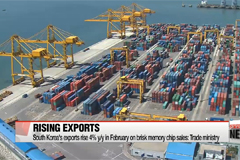South Korea's exports rise 4% y/y in February on brisk memory chip sales: Trade ministry