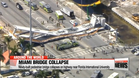 Pedestrian bridge collapses on highway in Miami