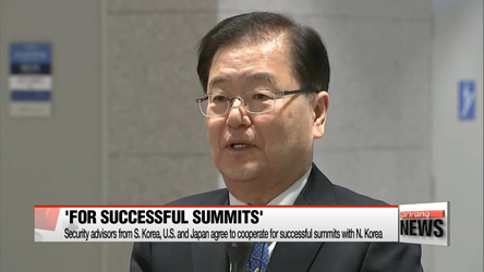 Security advisors of S. Korea, U.S. and Japan agree to cooperate for successful summits with N. Korea