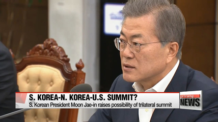 President Moon Jae-in raises possibility of S. Korea,-N. Korea-U.S. summit