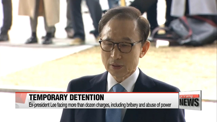 Former President Lee Myung-bak detained following arrest on corruption charges