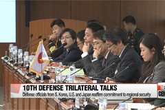 Defense officials from S. Korea, U.S. and Japan reaffirm their commitment to regional security at 10th Defense Trilateral Talks