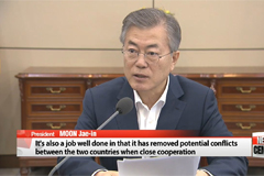 "S. Korean president calls Korea, U.S. FTA revision talks ""job well done"""