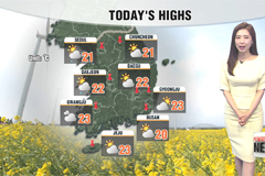Warm highs of 20s in most parts, rain from the evening
