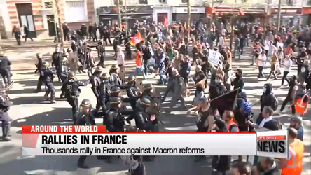 Thousands rally in France against Macron reforms