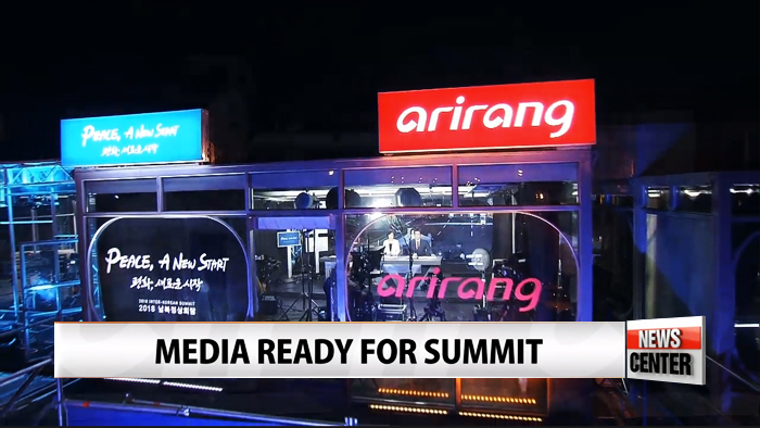 Press finishing up final touches for live coverage of inter-Korean summit