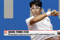 Tennis star Chung Hyeon moves up one spot on ATP world rankings to 21st