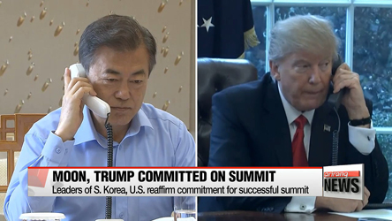 Moon, Trump to closely coordinate for successful N. Korea, U.S. summit