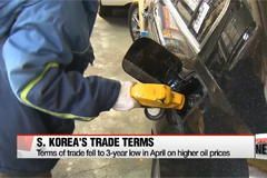 South Korea's terms of trade fell to 3-year low in April on higher oil prices