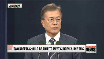 President Moon presented at the press briefing on Sunday