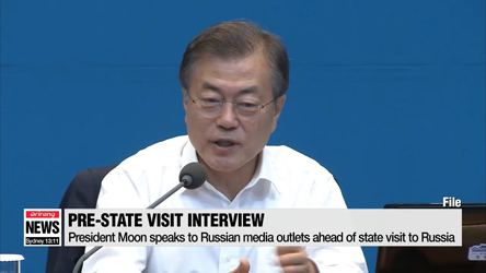 President Moon speaks to Russian media outlets ahead of state visit to...