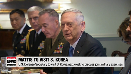 U.S. Secretary of Defense to visit S. Korea next week to discuss suspension of joint military exercises