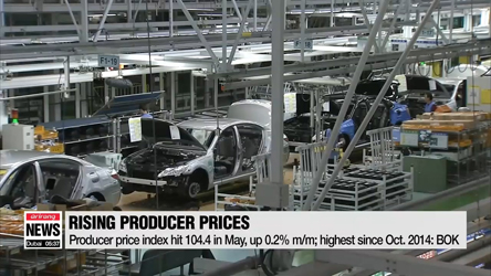 South Korea's producer prices rise to near 4-year high in May