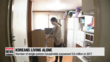 Number of single-person households surpassed 5.6 million in 2017