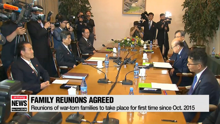 Two Koreas to hold reunions of war-torn families for 7 days starting Aug. 20