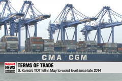 S. Korea's terms of trade fell in May to worst level since late 2014