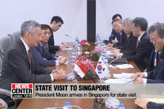 President Moon arrives in Singapore for a state visit