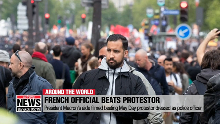 President Emmanuel Macron's aide filmed beating May Day protestor dressed as police officer