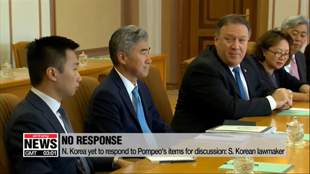 Pompeo brought up 3 items for discussion with N. Korea, but hasn't received any response