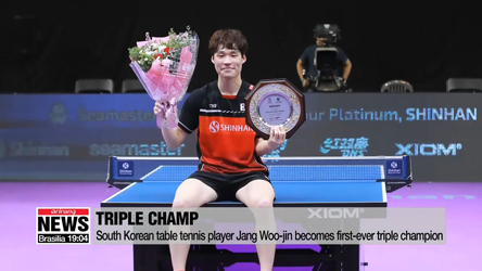 South Korean table tennis player Jang Woo-jin becomes first-ever triple champion