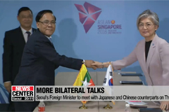 South Korea's Foreign Minister Kang Kyung-wha engages in bilateral talks with counterparts from ASEAN