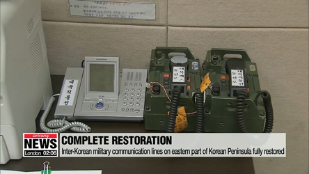 Two Koreas completely restore military communication lines on both eastern and western sides of peninsula