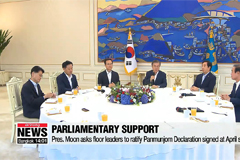 Pres. Moon asks floor leaders to ratify Panmunjom Declaration signed at April summit