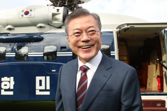 President Moon takes helicopter from Top Office to Seongnam Air Base