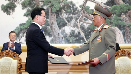 Defense chiefs of two Koreas sign comprehensive military agreement Wednesday