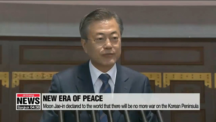 S. Korean President Moon Jae-in delivered public speech in front of some 150,000 Pyeongyang citizens, highli···