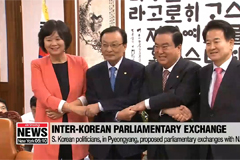 S. Korean politicians, in Pyeongyang, proposed parliamentary exchanges with N. Korea
