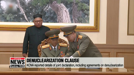 N. Korean media report on Pyeongyang Declaration, including denuclearization agreement