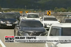 Expressways to Seoul jam-packed as Koreans return home after Chuseok