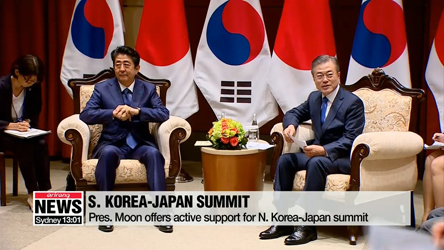 Pres. Moon and Japanese PM discuss N. Korea issues and bilateral ties