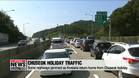 Some highways jammed as Koreans return home from Chuseok holiday