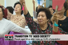 Korean population categorized as 'aged society' according to UN standards