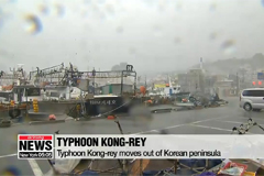 Typhoon Kong-rey moves out of
