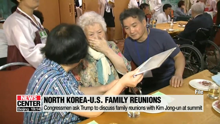 Congressmen ask Trump to discuss family reunions with Kim Jong-un at summit