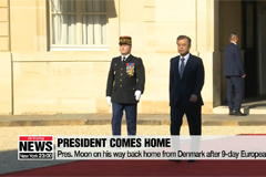 Pres. Moon on his way back home from Denmark after 9-day European tour