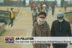 Fine dust levels 'bad' in most parts of South Korea on Monday