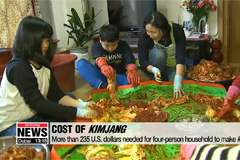 Kimjang, making and sharing kimchi in S. Korea to cost around 235 U.S. dollars this year