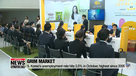 S. Korea's unemployment rate hits 3.5% in October, highest since 2005