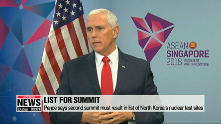Pence says second summit must result in list of North Korea's nuclear test sites