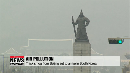 Thick smog from Beijing set to arrive in South Korea