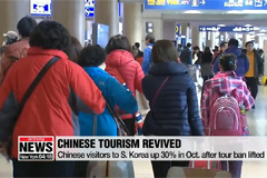 Chinese visitors to S. Korea up 30% in Oct. after tour ban lifted