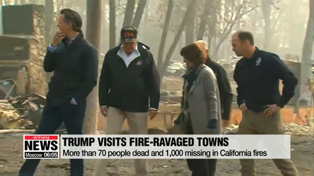 Trump tours fire-ravaged California towns
