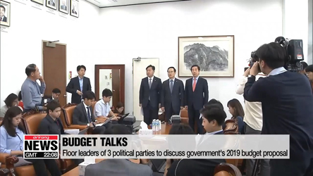 Floor leaders of 3 political parties to discuss government's 2019 budget proposal