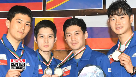 S. Korean men's fencing team win gold at World Cup in Algiers