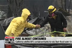 California wildfire 95% contained thanks to rain; flash flood watch in effect