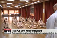 Foreigners at Yongjoosa Temple Stay learn about Korean Buddhism culture